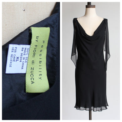 90s Black Silk Fiori De Zucca Little Black Dress