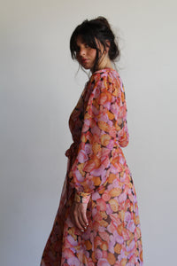 Late 1970s Sheer Seashell Print Midi Dress with belt