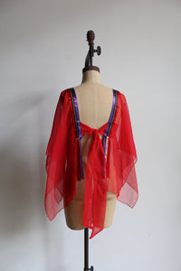1970s Sheer Red Hankie Hem Open Back Blouse