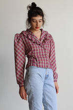 Load image into Gallery viewer, 1980s Pink Plaid Ruffle Collar Double Breasted Blouse