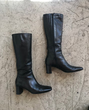 Load image into Gallery viewer, 90s Black Leather OTK Size Zipper Boots by Via Spiga
