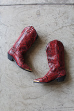Load image into Gallery viewer, 1980s Shiny Red Faux Snakeskin Boots / Size 5.5