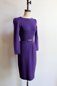 1980s St. John Knit Purple Puff Sleeves Wiggle Drop Waist Dress
