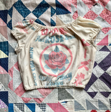 Vintage Red Rose Brand Rice Sack Cropped Blouse Circa 1963 by 3 Women