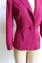 Load image into Gallery viewer, 1940s Magenta Pink Structured Wool Rayon Blazer Jacket