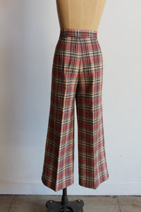 1970s Pink Plaid Wool Blend Trousers