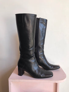90s Black Leather OTK Size Zipper Boots by Via Spiga