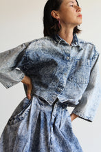 Load image into Gallery viewer, 1980s Acid Wash Cropped Swing Blouse + High Waist Full Midi Skirt