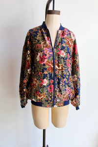 1990s Tropical Floral Silk Bomber Jacket