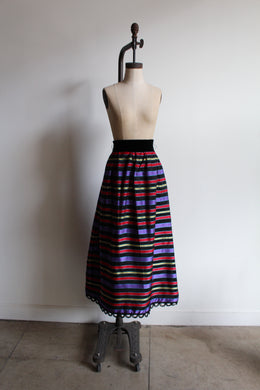 1950s Rainbow Taffeta Maxi Skirt with Velvet Waistband + Loop Yarn Hem