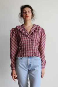 1980s Pink Plaid Ruffle Collar Double Breasted Blouse