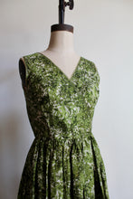 Load image into Gallery viewer, 1950s Green Silk Foliage Print Fit + Flare Dress