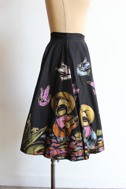 1950s Singing Cowboy + Birds Hand-Painted Mexican Full Circle Skirt