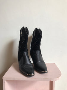 1980s Star Studded Black Leather + Suede  Cowgirl Boots by Dingo