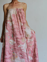 Load image into Gallery viewer, 1970s Saks Fifth Ave Pink Palm Trees Tropical Print Strapless Tent Dress