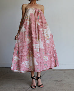 1970s Saks Fifth Ave Pink Palm Trees Tropical Print Strapless Tent Dress