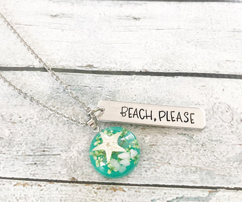 Beach please - Beachy jewelry - Hand stamped
