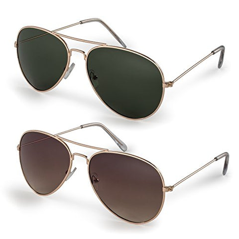 Classic Aviator Sunglasses with Protective Bag - Set of 2