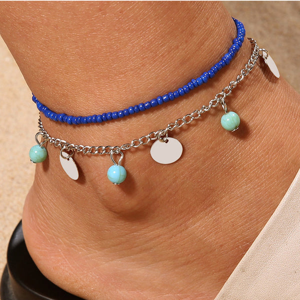 Double Chain Anklet Jewelry Beach