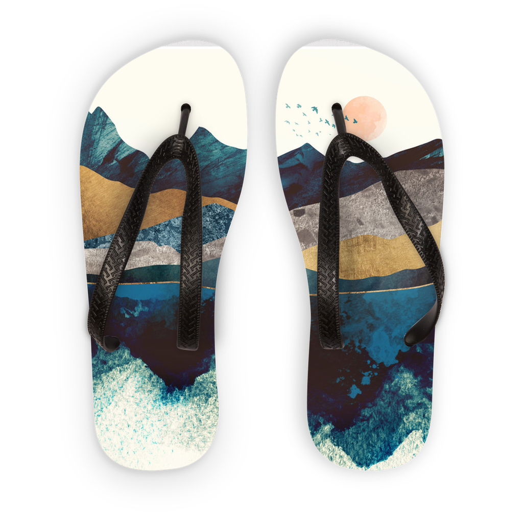 Blue Mountain Reflection Adult Flip Flops