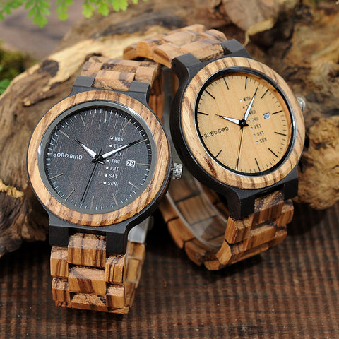 Mens Watch Wooden Quartz Movement Calendar Watch