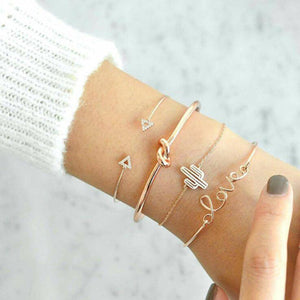Gold Colour Cactus Letter Knot Bracelet Set