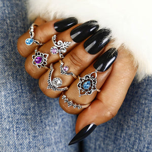 Fashion Vintage Blue Crystal Ring Set