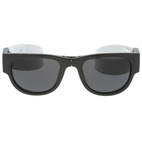 Portable Rubber Snap Arms Square Lens Foldable Horn Rimmed Sunglasses 53mm (Black-White / Smoke)