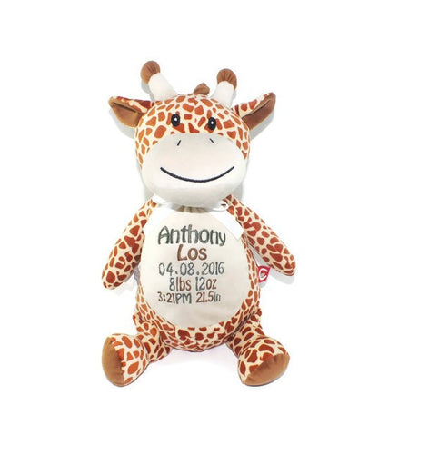 Giraffe with Embroidered Birth Stats