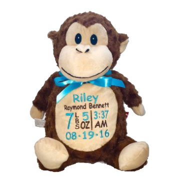 Monkey with Embroidered Birth Stats - SimplyNameIt