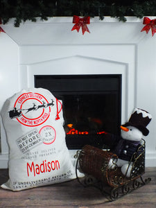 Beige Santa Sack with embroidered name