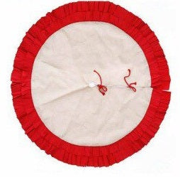 Red Ruffle Burlap Tree Skirt - SimplyNameIt