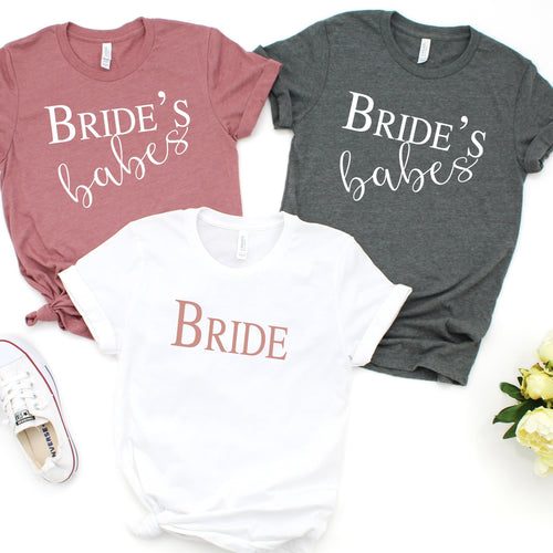 Personalized Bride and Bride's Babe Crew Neck T-Shirt - SimplyNameIt