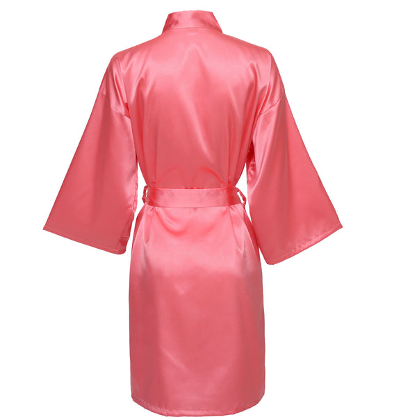 Coral Satin Robe - SimplyNameIt