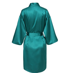 Teal Satin Robe - SimplyNameIt