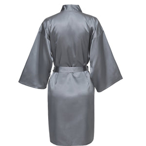 Grey Satin Robe - SimplyNameIt