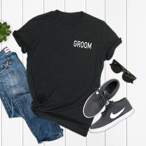 Personalized Groom Crew Neck T-Shirt - SimplyNameIt