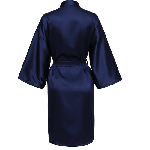 Navy Satin Robe - SimplyNameIt