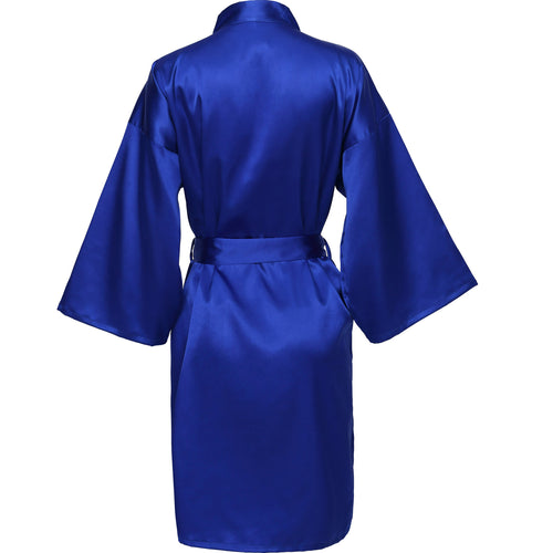 Royal Blue Satin Robe - SimplyNameIt