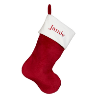 Red Plush Embroidered Stocking - SimplyNameIt