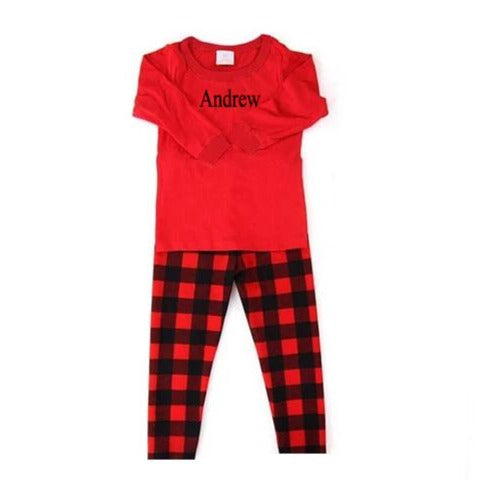 Plaid Pajamas With Embroidered Name - SimplyNameIt