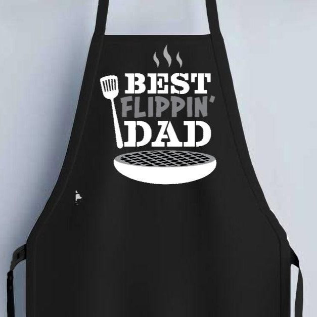 Best Flippin Dad Apron - Black - SimplyNameIt