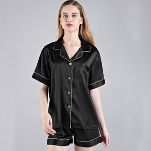 Black Short Sleeve Button down and Shorts Pajama Sets - SimplyNameIt