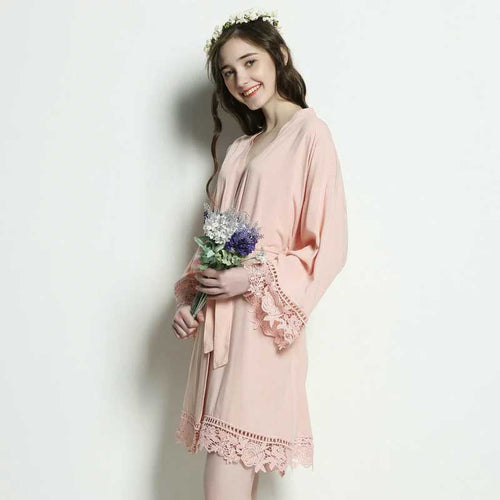 Blush Cotton Lace Robe - SimplyNameIt