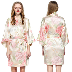 Champagne Floral Satin Robe - SimplyNameIt