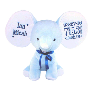 Blue Elephant with Embroidered Birth Stats