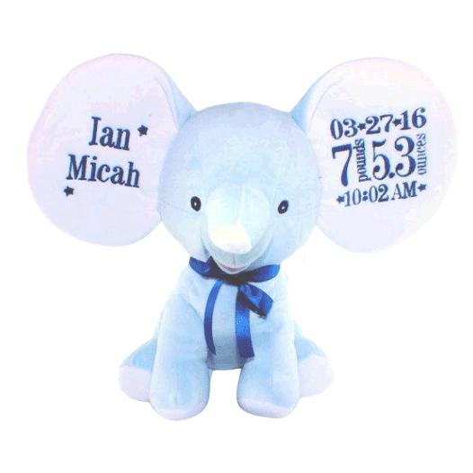 Blue Elephant with Embroidered Birth Stats - SimplyNameIt