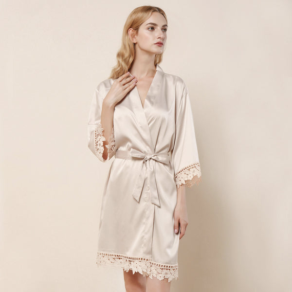 Champagne Satin Lace Robe - SimplyNameIt