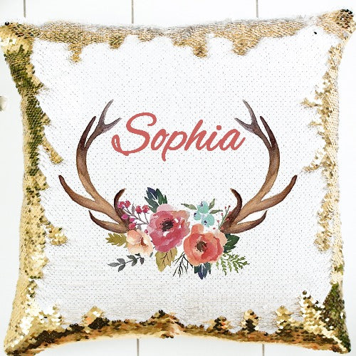 Deer Antlers Sequin Pillow - SimplyNameIt