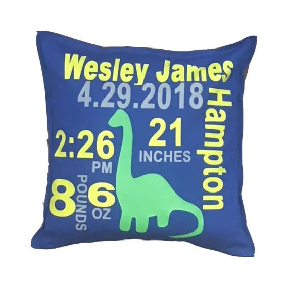 Dinosaur Birth Stat Pillow - SimplyNameIt